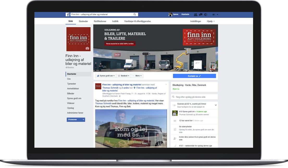 Facebook lavet for Finn Inn - Alt i udlejning