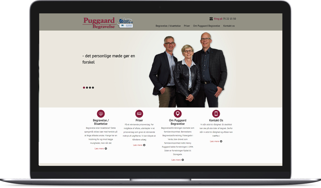 Hjemmeside lavet for Puggaard Begravelse